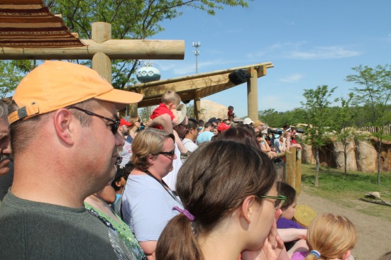 Guests lined up to see the Cheetah Run demo
