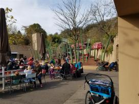 Fun oversized garden as play area for kids adjacent to restaurant