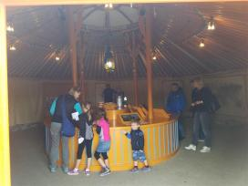 Inside the yurt is interpretive